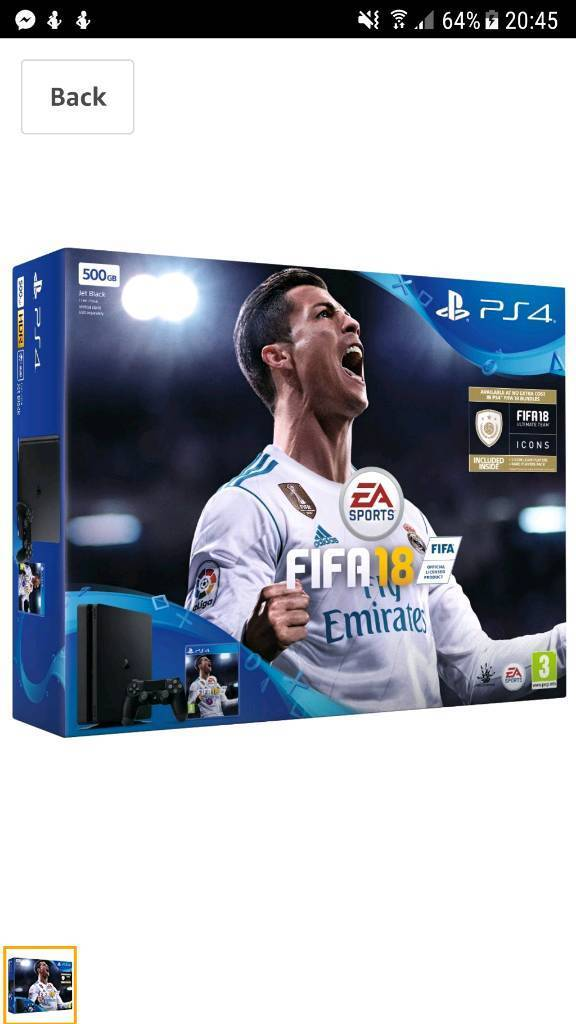 Sony PlayStation 4 500 GB with FIFA 18 Ultimate Team Icons and Rare Player Pack