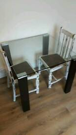 Glass dining room table and chairs shabby chic