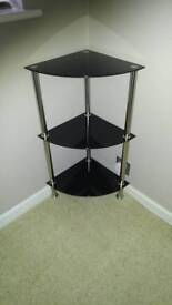 Black glass corner shelf storage unit