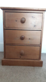Three draw well made wooden bedside cabinet dovetail joinery