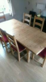 Solid pine dining table & 8 chairs