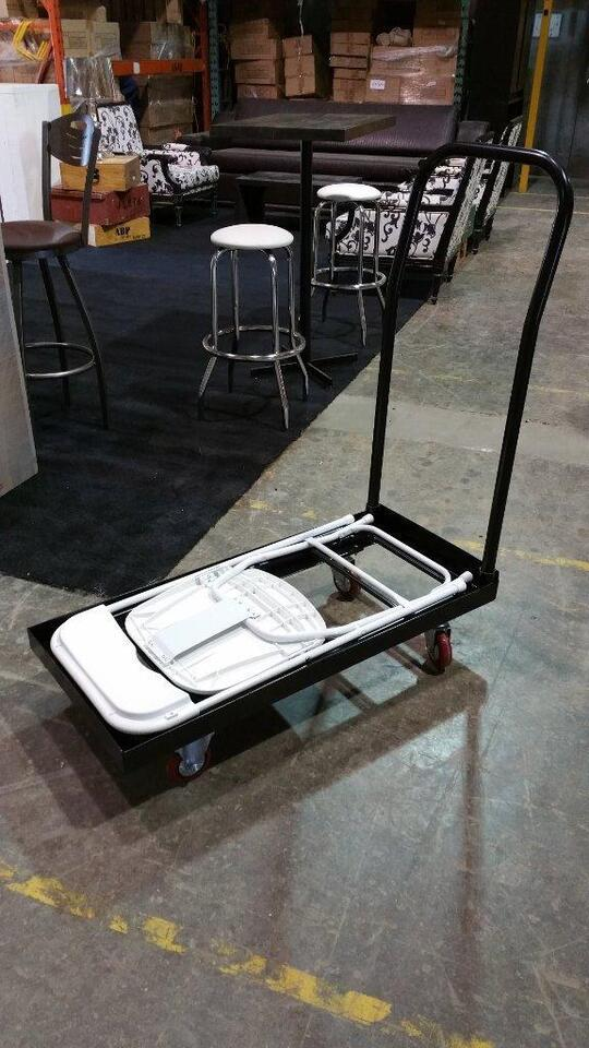 liquidation chaise pliante robuste noire neuve chariot transport chaise pliante holiday. Black Bedroom Furniture Sets. Home Design Ideas