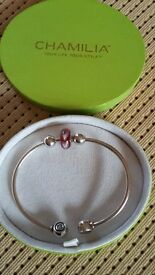 Chamilia Silver Hallmarked Bangle with Heart Bead