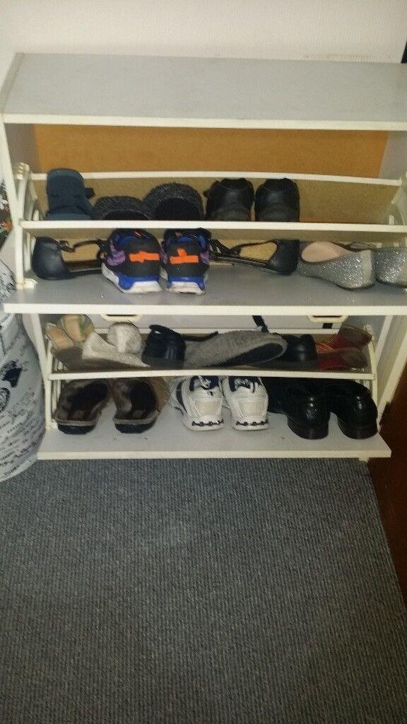 2 tier wooden shoe rack
