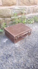 Vintage Retro Brown Leather Suitcase Luggage Trunk Briefcase Storage Display Small