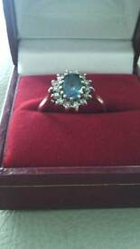 Topas & diamonds 9ct gold (M1/2)£100