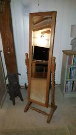 Free standing mirror solid pine