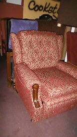 Ruby and gold fabric recliner
