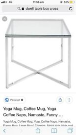 DWELL Cross leg large glass dining table