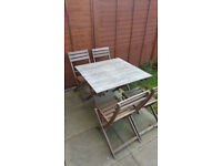 Folding Garden Table & 4 Chairs