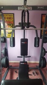 Body max multi gym all weights upto 25kg work bench and a cross trainer hardly used