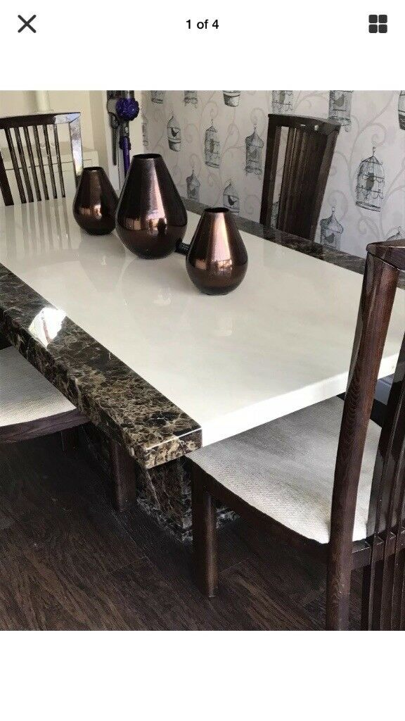 Marble dining table and 4 chairs vgc cost £1800 when new