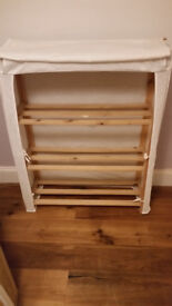 Cotton covered wooden shelving unit/shoe rack