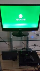 Monitor, Xbox one 500GB, Controller and turtle beach recon headset.