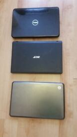 3 laptops 1 hp, 1 acer and 1 dell all the laptops needd the new window in working order