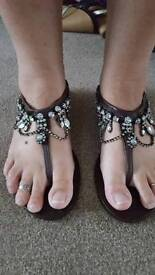 Next brown leather beaded sandals size 5