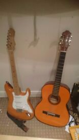 Two guitars with amps