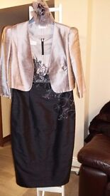 Mother of the Bride/ Groom Condici dress and jacket (stunning dusky pink and black) Size 12.