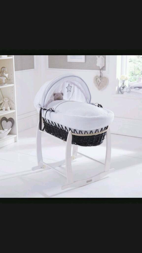 Clair de Lune silver linings moses basket and stand.