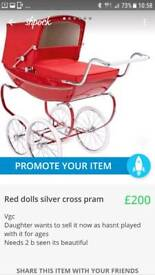 Red childs silver x pram