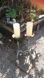 2 x Cathedral Candlesticks with Candles, 2ft tall