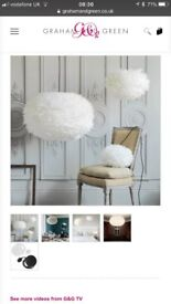 White Feather lampshade with ceiling pendant