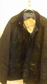 mens genuine barbour wax coated quilted jacket brand new