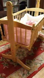 Wooden Rocking Crib complete with mattress and bumpers