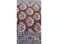 Handmade Rug Persian Design - Navy White Red Pink Green
