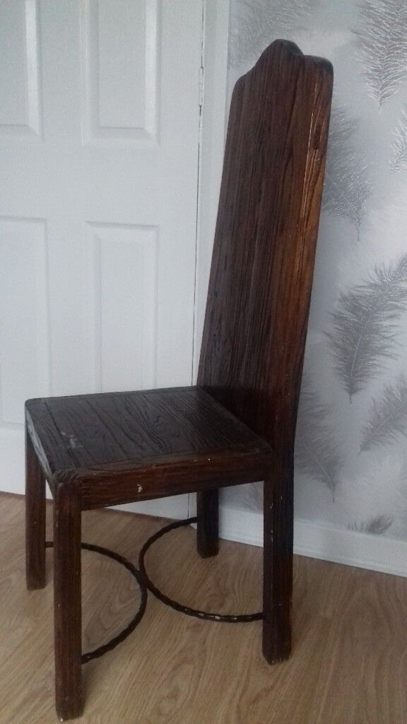 Unusual Vintage High Back Wooden Chair