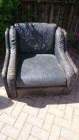 Leather armchair, black