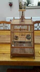 Vintage bamboo wooden bird cage