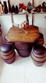 Bespoke barrel table and 4 stools absolutely fabulous must have!