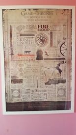 Game of Thrones Quotes infographic poster with frame