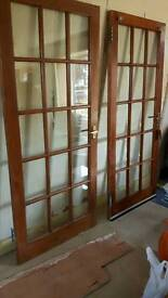 2 wooden glass panel internal doors with handles and hinges