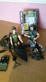 H.M. Armed forces toys-canoe+soldier,desert soldier with accessories also compass/signalling torch