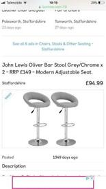 John lewis oliver barstools grey brand new cost £150 take £70 flat pack still