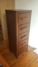 Reduced Solid wood 5 drawer unit
