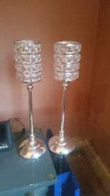 Tall crystal effect candle sticks.