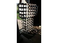 Two wooden and metal wine racks