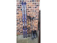 Pair of Skis Boots & Poles Shoe Size 8-8.5