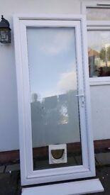 Single PVC door with full glass panel