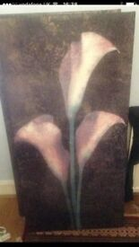 2 large gothic floral canvas art pictures for sale