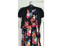 Beautiful floral dress with balero cardy. Size 12