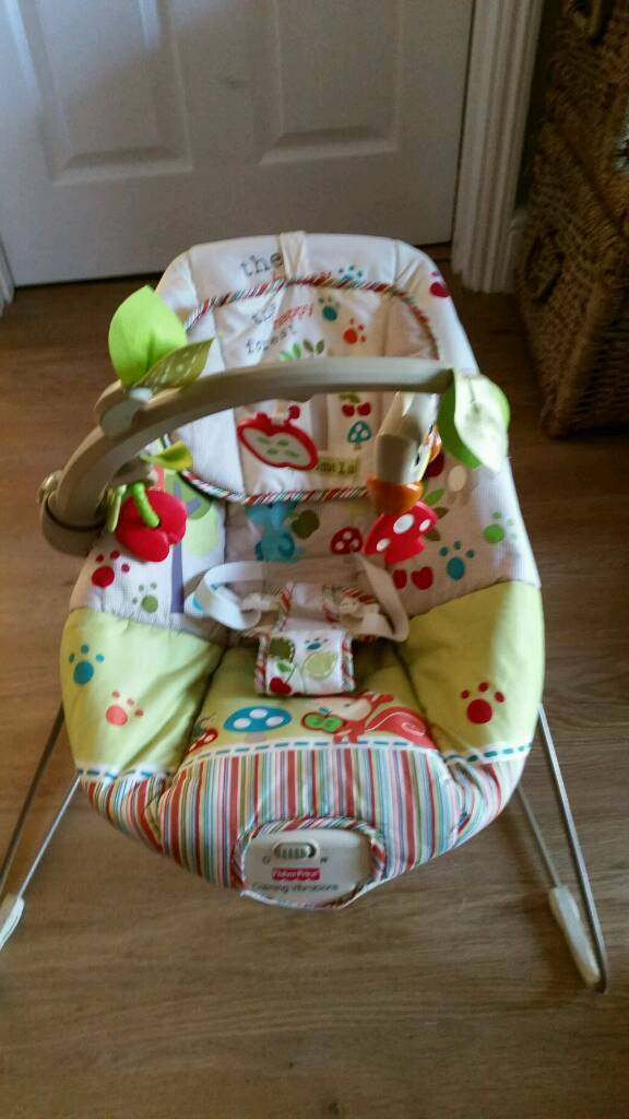 Fisher Price Woodsie Friends Bouncer. Padded Bouncy chair. Musical vibratesin Taverham, NorfolkGumtree - Lovely condition from a pet and smoke free home Cost £50 newKeep your baby entertained with the Woodsie Friends Bouncer from Fisher Price. Babies love these bouncers, and it's a great place to keep them safe whilst giving them a little rest!This...
