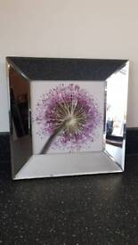 Purple floral picture with mirrored frame