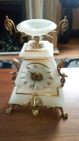 Early alabaster and ormolu mantle clock