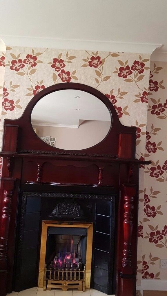 Mahogony fire surround hearth mirror and insert