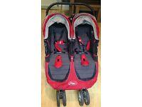 Baby jogger city mini double crimson red pram