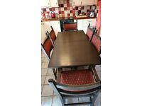 Solid Oak, dining table and chairs in Old charm style